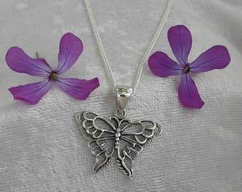 Butterfly Necklace, Butterfly Pendant, Sterling Silver Butterfly Necklace