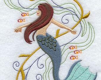 Fantasy Waves Mermaid Embroidered Flour Sack Hand/Dish Towel