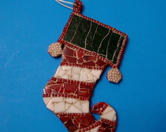 Stained Glass Mosaic Christmas Stockings Gifts under 25 Dollars Red White and Green