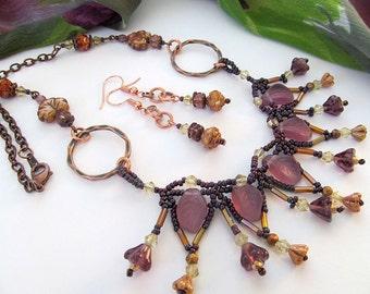 Bohemian Leaf Necklace, Purple Glass Leaf Beads, Bib Style Choker, Bohemian Beadwork Necklace, Antiqued Copper, Dementia Awareness