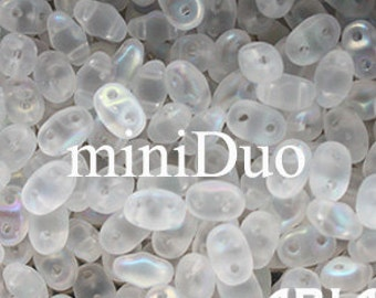 CRYSTAL AB MATTE: MiniDuo Two-Hole Czech Glass Seed Beads, 2x4mm (10 grams)
