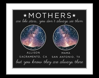 2 Location star map constellation chart night sky, personalized long distance gift, unique relationship gift, mom grandma away 77238