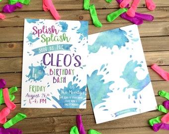 Digital Birthday Party Invitation - Water Party Invite - Splish Splash Birthday Bash - Summer Water Party Invite