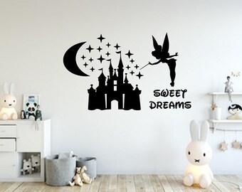 Disney Wall Decal / Tinkerbell Wall Decal / Tinkerbell Sweet Dreams Decal / Nursery Decor / Nursery Decal / Girl's Room Decal / Fairy Decal