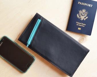 Leather Travel Organizer Wallet, Passport Holder, Wife Travel Gift, Slim Minimalist Wallet for Boarding Pass - The Stella Wallet in Black