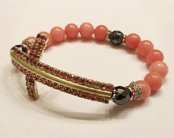 Sideways Cross Bracelet . Pink Jade Bracelet. Catholic Bracelet. Pink Bracelet. Cross Bracelet. Religious Bracelet. Religious Gift. #HP30
