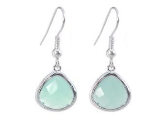 Matte Silver Turquoise Crystal Drop Earrings- Jewellery- Pastel Mint Green Stone-Premium Earrings, Wedding Bridal Bridesmaid Jewelry