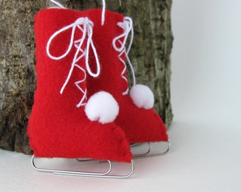 Rot Schlittschuhe fühlte Christmas Ornament Vintage-Stil umweltfreundliche
