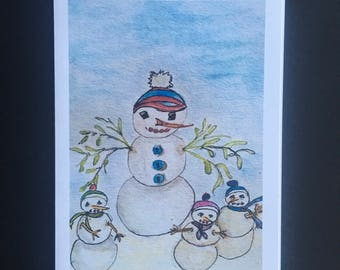 Note Card - Snowman and Leafy Arms and Three Little Snow Kids - Set of 6