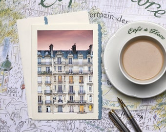 Paris Photography Notecard - Sunset Ile de la Cite, Stationery, Blank Card, Greeting Card, Print on Ivory Card with Blue Deckle Edge