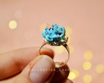 Kawaii octopus ring polymer clay ring cute octo charm