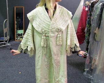 REDUCED  Paris Designer WORTH Victorian Embroidered Cream Silk Evening Coat - Large -# JH150 ,Coats