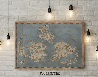 Final Fantasy VII Inspired Art, Final Fantasy 7, FFVII, Map of Gaia, Custom Raised Canvas Art Piece