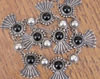 Vintage Mexican Sterling Silver onyx Necklace jewelry art deco hand made 925 Mexico Hecho en Mexico