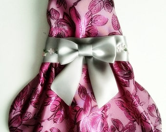 Dog dress pink and gray floral design for dog clothes  pet clothes on etsy  for your Yorkie chihuahua