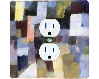 Paul Klee Painting Square Duplex Outlet Plate Cover