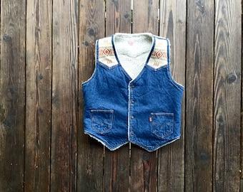 Vintage Levi's Sherpa Denim Vest with Neutral Pendleton Wool Shoulder/Center Back Panel. Size M/L