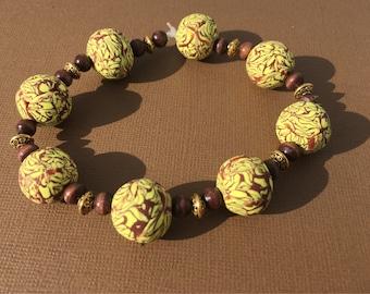 Boho Beaded Bracelet Yellow Brown