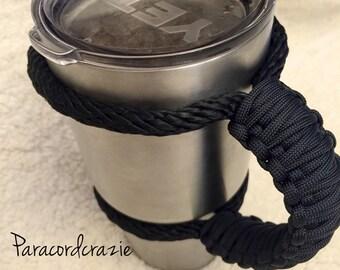 Paracord Yeti /Ozark /Rtic rambler handle for 30 oz tumbler , all black