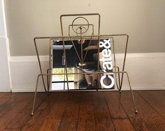 Brass Look Magazine Rack - Atomic Wire Basket Gold Tone Magazine Stand Vintage Retro Mid Century Modern - Newspaper Book Storage Home Decor