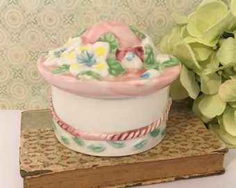 Ceramic Easter Hat Box ~ Small Jewelry Box, Pink Hat with Spring Flowers, Spring Decor, Trinket Box, Keepsake Box, Girl Easter Gift, Pin Box