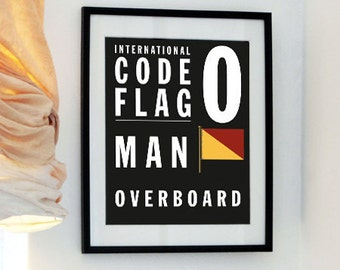 Letter O - Bus Roll International Code Flag art print - Man Overboard - Father's Day Fun