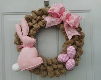 Easter burlap wreath Easter bunny wreath Easter bunny burlap wreath Pink Easter bunny wreath Bunny Decor Easter decor Spring wreath RTS