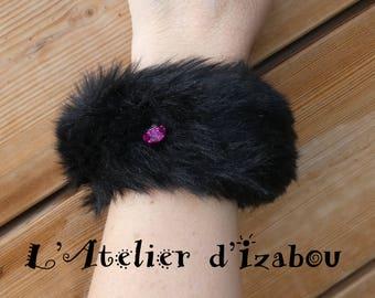 Fur and pink swarovski heart Cuff Bracelet