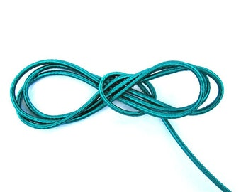 Wrapped silk cord, satin cord, teal, 2 meters