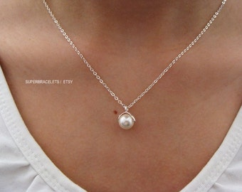 white pearl necklace, pearl necklace, white necklace, bridesmaid gift, pearl jewelry, pearl, white pearl