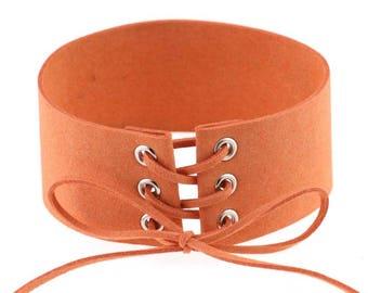 Orange/peach velvet neck choker