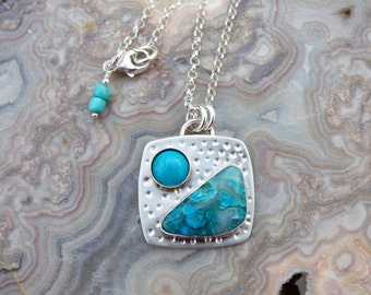 Chrysocolla & Turquoise Sterling Silver Multi Stone Necklace