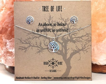 Tree of Life Necklace & Stud Earring Set - Sterling Silver - As above So Below