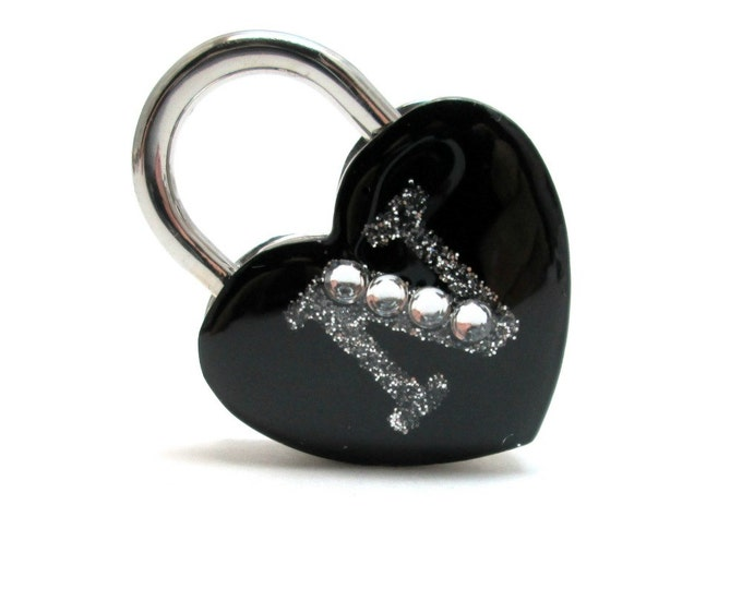 Monogram Heart Shaped Working Padlock Personalized with Your Initial