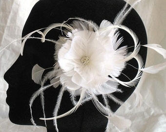 feather flower - Bridal feather fascinator - wedding hair clip