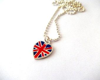 Kawaii Union Jack British UK Flag Heart  Necklace