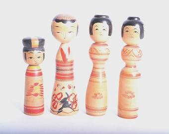 Japanese Vintage Kokeshi Dolls, set of 4,  13cm, small size,  japanese traditional wooden dolls
