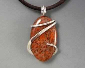 Jasper Pendant, Wire Wrapped Pendant, Handmade Jewelry, Red stone Pendant, stone jewelry, wire wrapped jewelry