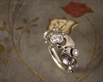 Custom for Emily - Scattered ginkgo & diamonds ring