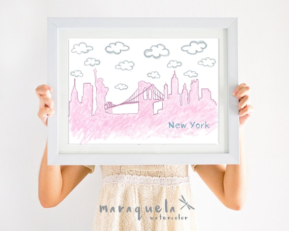 CUSTOM skyline NEW YORK nursery illustration with personalized text.Custom Newborn gift.Wall Child's room,Skylines city,babies,bedroom kids
