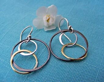 Circle Earrings, Hoop Earrings, Mixed Metal Earrings, Everyday Earrings, Dangle Earrings, Drop Earrings