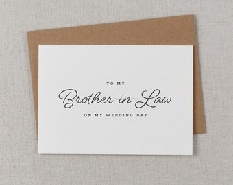 To My Brother-In-Law On My Wedding Day Card, Brother Wedding Card, Wedding Cards, To My Brother Thank You Wedding Card, Wedding Note, K1