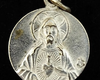 Vintage Medal Paray Sacred Heart Jesus Paray-le-Monial France