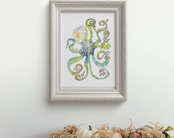 Octopus- limited edition print from original // Beach House Home Decor // 13x19 11 x 14 8 x 10
