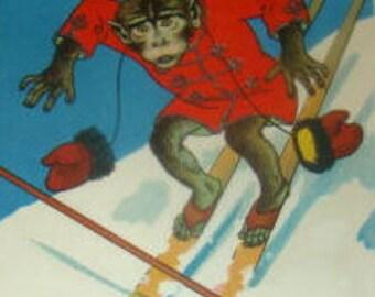 SALE Funny Vintage Artist Signed Postcard (Monkey On Skis)