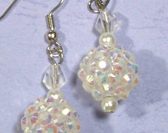 "Cynthia Lynn ""SNOW BALLS"" Winter Aurora Borealis White Disco Ball Crystal Earrings 1.75"""