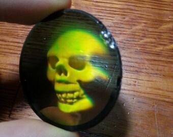 3D Glass transparent clear hologram of a skeleton skull