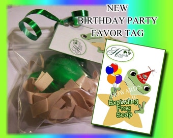 EXPLODING Frog Soaps by Howard's Home(tm) party favors set of 5 - individual with Birthday tags