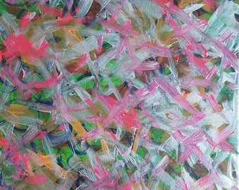 "Pink, Silver, Green, Orange Original Acrylic Abstract Painting on Canvas ""Series 7 LXIV"" Wall Art Decor"