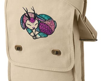 Jackalope Heart Embroidered Canvas Field Bag